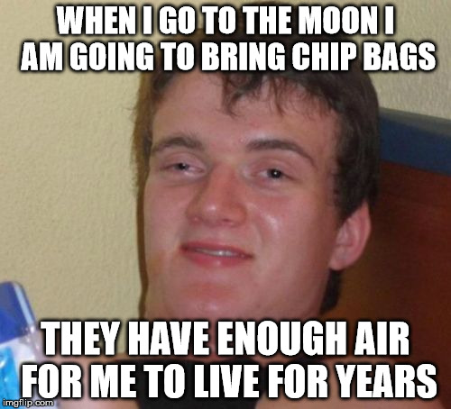 10 Guy Meme | WHEN I GO TO THE MOON I AM GOING TO BRING CHIP BAGS THEY HAVE ENOUGH AIR FOR ME TO LIVE FOR YEARS | image tagged in memes,10 guy | made w/ Imgflip meme maker