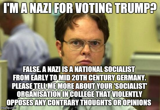 What to say to a libtard | I'M A NAZI FOR VOTING TRUMP? FALSE. A NAZI IS A NATIONAL SOCIALIST FROM EARLY TO MID 20TH CENTURY GERMANY. PLEASE TELL ME MORE ABOUT YOUR 'S | image tagged in memes,dwight schrute,college liberal,liberal logic,trump | made w/ Imgflip meme maker