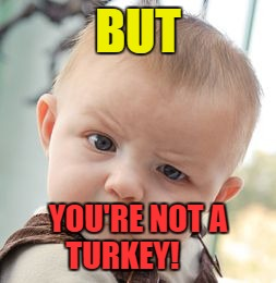 Skeptical Baby Meme | BUT YOU'RE NOT A TURKEY! | image tagged in memes,skeptical baby | made w/ Imgflip meme maker