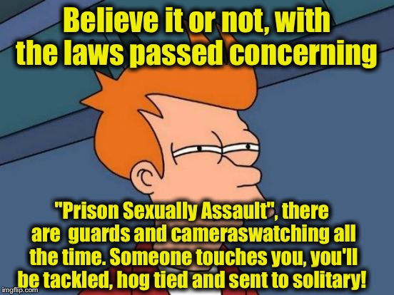 "Futurama Fry Meme | Believe it or not, with the laws passed concerning ""Prison Sexually Assault"", there are  guards and cameraswatching all the time. Someone to 