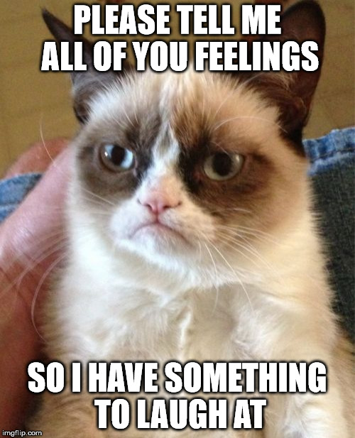 Grumpy Cat Meme | PLEASE TELL ME ALL OF YOU FEELINGS SO I HAVE SOMETHING TO LAUGH AT | image tagged in memes,grumpy cat | made w/ Imgflip meme maker