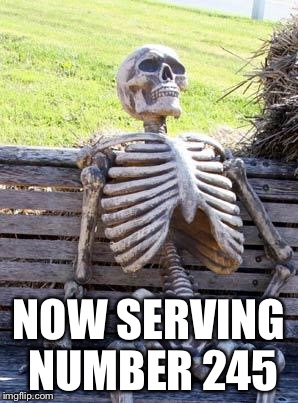 Waiting Skeleton Meme | NOW SERVING NUMBER 245 | image tagged in memes,waiting skeleton | made w/ Imgflip meme maker