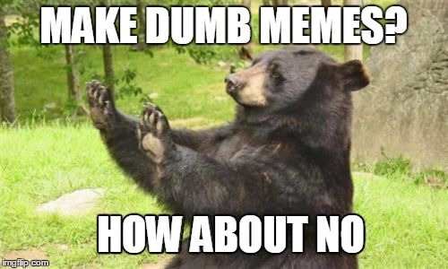How About No Bear |  MAKE DUMB MEMES? HOW ABOUT NO | image tagged in memes,how about no bear | made w/ Imgflip meme maker