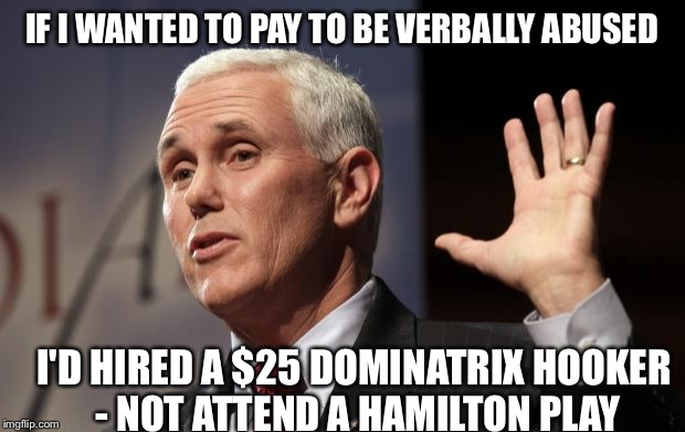 Mike Pence RFRA | IF I WANTED TO PAY TO BE VERBALLY ABUSED I'D HIRED A $25 DOMINATRIX HOOKER - NOT ATTEND A HAMILTON PLAY | image tagged in mike pence rfra | made w/ Imgflip meme maker