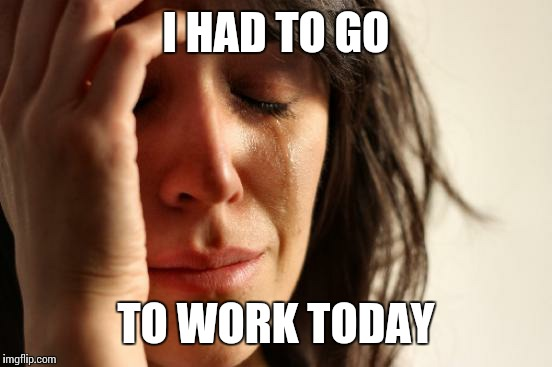 First World Problems Meme | I HAD TO GO TO WORK TODAY | image tagged in memes,first world problems | made w/ Imgflip meme maker