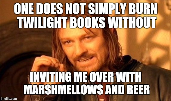 One Does Not Simply Meme | ONE DOES NOT SIMPLY BURN TWILIGHT BOOKS WITHOUT INVITING ME OVER WITH MARSHMELLOWS AND BEER | image tagged in memes,one does not simply | made w/ Imgflip meme maker