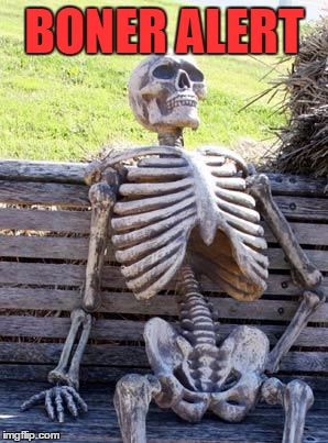 Waiting Skeleton Meme | BONER ALERT | image tagged in memes,waiting skeleton | made w/ Imgflip meme maker