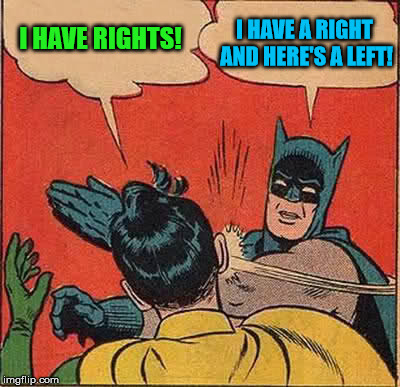 Robin Has Rights! But Batman Has A Left! | I HAVE RIGHTS! I HAVE A RIGHT AND HERE'S A LEFT! | image tagged in memes,batman slapping robin,it came from the comments,is this a clue | made w/ Imgflip meme maker