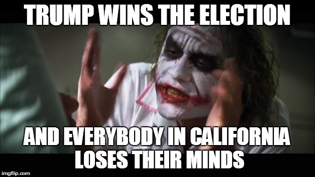 And everybody loses their minds |  TRUMP WINS THE ELECTION; AND EVERYBODY IN CALIFORNIA LOSES THEIR MINDS | image tagged in memes,and everybody loses their minds | made w/ Imgflip meme maker