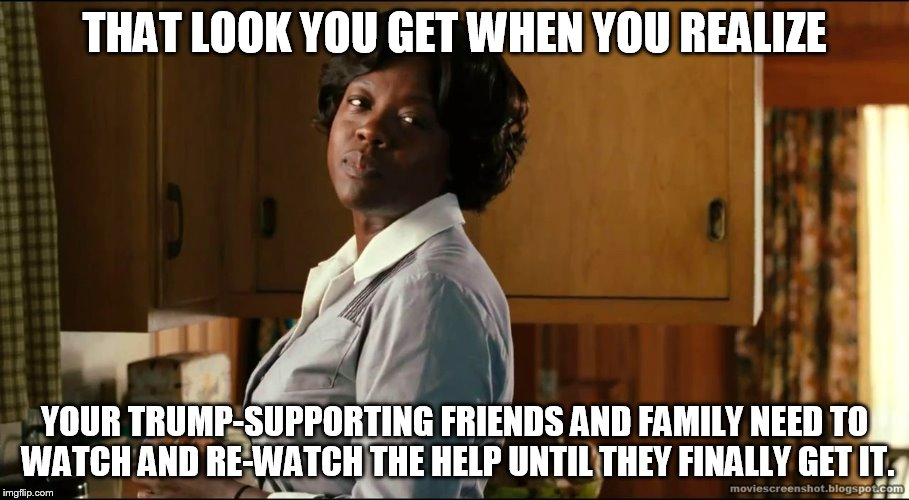 That look you get when you realize... |  THAT LOOK YOU GET WHEN YOU REALIZE; YOUR TRUMP-SUPPORTING FRIENDS AND FAMILY NEED TO WATCH AND RE-WATCH THE HELP UNTIL THEY FINALLY GET IT. | image tagged in the help,trump,racism,segregation,white nationalism,alt-right | made w/ Imgflip meme maker