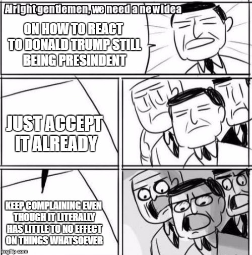 I don't get it | ON HOW TO REACT TO DONALD TRUMP STILL BEING PRESINDENT JUST ACCEPT IT ALREADY KEEP COMPLAINING EVEN THOUGH IT LITERALLY HAS LITTLE TO NO EFF | image tagged in memes,alright gentlemen we need a new idea,political | made w/ Imgflip meme maker
