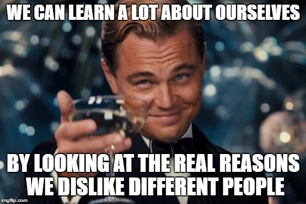 Leonardo Dicaprio Cheers Meme | WE CAN LEARN A LOT ABOUT OURSELVES BY LOOKING AT THE REAL REASONS WE DISLIKE DIFFERENT PEOPLE | image tagged in memes,leonardo dicaprio cheers | made w/ Imgflip meme maker