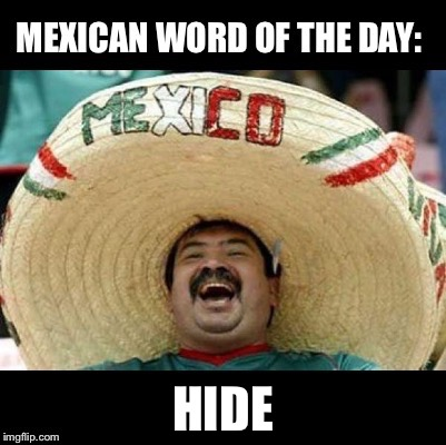 If ju are an undocumented criminal ju better | HIDE | image tagged in mexican word of the day large | made w/ Imgflip meme maker