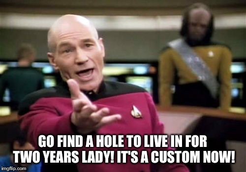 Picard Wtf Meme | GO FIND A HOLE TO LIVE IN FOR TWO YEARS LADY! IT'S A CUSTOM NOW! | image tagged in memes,picard wtf | made w/ Imgflip meme maker