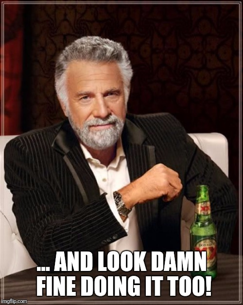 The Most Interesting Man In The World Meme | ... AND LOOK DAMN FINE DOING IT TOO! | image tagged in memes,the most interesting man in the world | made w/ Imgflip meme maker