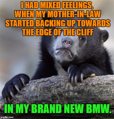 Mixed feelings | I HAD MIXED FEELINGS, WHEN MY MOTHER-IN-LAW STARTED BACKING UP TOWARDS THE EDGE OF THE CLIFF IN MY BRAND NEW BMW. | image tagged in memes,confession bear,funny,funny memes,mother-in-law jokes | made w/ Imgflip meme maker