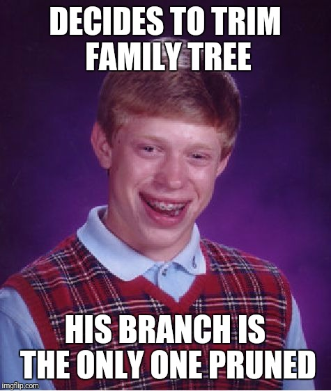 Bad Luck Brian Meme | DECIDES TO TRIM FAMILY TREE HIS BRANCH IS THE ONLY ONE PRUNED | image tagged in memes,bad luck brian | made w/ Imgflip meme maker