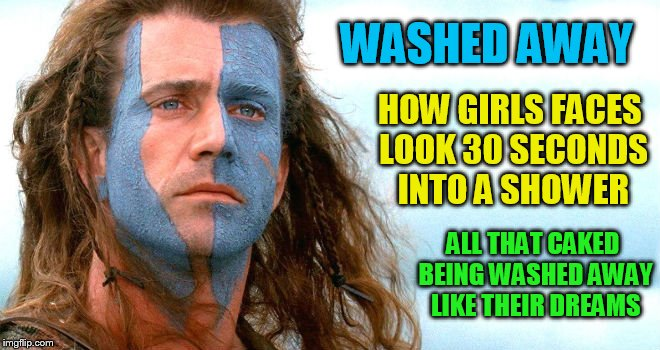 WASHED AWAY HOW GIRLS FACES LOOK 30 SECONDS INTO A SHOWER ALL THAT CAKED BEING WASHED AWAY LIKE THEIR DREAMS | made w/ Imgflip meme maker