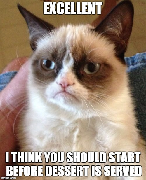 Grumpy Cat Meme | EXCELLENT I THINK YOU SHOULD START BEFORE DESSERT IS SERVED | image tagged in memes,grumpy cat | made w/ Imgflip meme maker