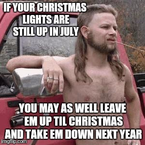 IF YOUR CHRISTMAS LIGHTS ARE STILL UP IN JULY YOU MAY AS WELL LEAVE EM UP TIL CHRISTMAS AND TAKE EM DOWN NEXT YEAR | made w/ Imgflip meme maker