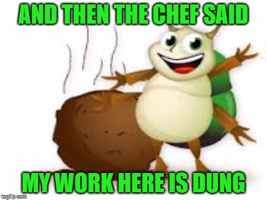 AND THEN THE CHEF SAID MY WORK HERE IS DUNG | made w/ Imgflip meme maker