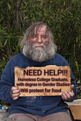 Blak Homeless Sign | Will protest for food. Homeless College Graduate, with degree in Gender Studies. NEED HELP!!! | image tagged in blak homeless sign | made w/ Imgflip meme maker