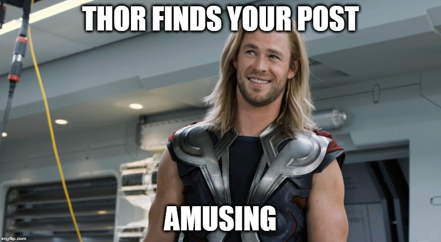Thor Odinson | THOR FINDS YOUR POST AMUSING | image tagged in memes,thor,avengers | made w/ Imgflip meme maker