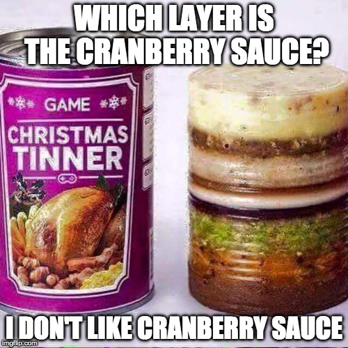 The Forever Alone guy's dinner. |  WHICH LAYER IS THE CRANBERRY SAUCE? I DON'T LIKE CRANBERRY SAUCE | image tagged in gross in a can,forever alone,bacon,happy thanksgiving | made w/ Imgflip meme maker