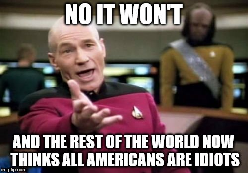 Picard Wtf Meme | NO IT WON'T AND THE REST OF THE WORLD NOW THINKS ALL AMERICANS ARE IDIOTS | image tagged in memes,picard wtf | made w/ Imgflip meme maker