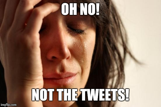 First World Problems Meme | OH NO! NOT THE TWEETS! | image tagged in memes,first world problems | made w/ Imgflip meme maker