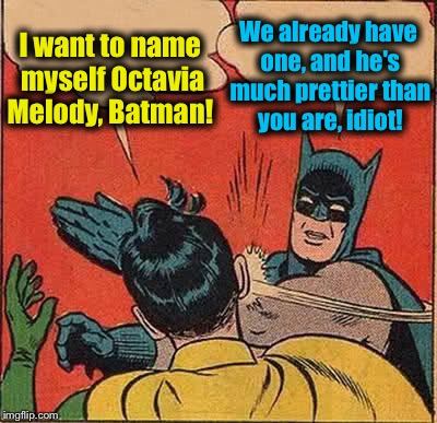 Batman Slapping Robin Meme | I want to name myself Octavia Melody, Batman! We already have one, and he's much prettier than you are, idiot! | image tagged in memes,batman slapping robin,evilmandoevil,octavia_melody,funny memes,funny | made w/ Imgflip meme maker