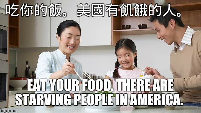 吃你的飯。美國有飢餓的人。 EAT YOUR FOOD. THERE ARE STARVING PEOPLE IN AMERICA. | image tagged in great wall of china | made w/ Imgflip meme maker