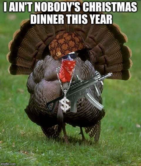 Gangsta Turkey | I AIN'T NOBODY'S CHRISTMAS DINNER THIS YEAR | image tagged in gangsta turkey,scumbag | made w/ Imgflip meme maker
