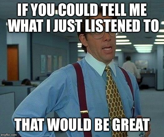 That Would Be Great Meme | IF YOU COULD TELL ME WHAT I JUST LISTENED TO THAT WOULD BE GREAT | image tagged in memes,that would be great | made w/ Imgflip meme maker