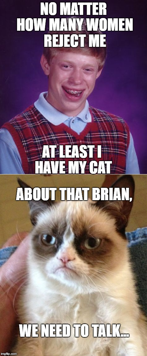 E tu Whiskers? |  NO MATTER HOW MANY WOMEN REJECT ME; AT LEAST I HAVE MY CAT; ABOUT THAT BRIAN, WE NEED TO TALK... | image tagged in bad luck brian,grumpy cat,funny memes | made w/ Imgflip meme maker