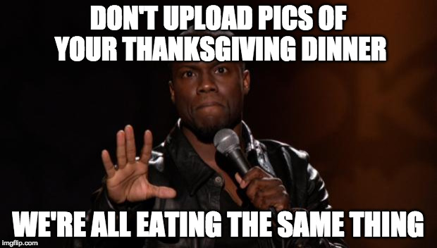 Put the phone away. |  DON'T UPLOAD PICS OF YOUR THANKSGIVING DINNER; WE'RE ALL EATING THE SAME THING | image tagged in stop kevin hart,thanksgiving,turkey,instagram,bacon | made w/ Imgflip meme maker