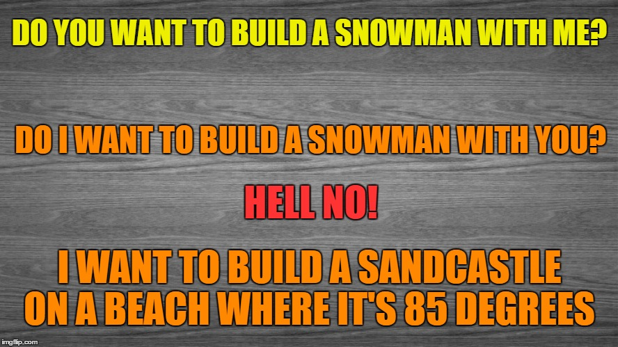 The Problem With Winter | DO YOU WANT TO BUILD A SNOWMAN WITH ME? I WANT TO BUILD A SANDCASTLE ON A BEACH WHERE IT'S 85 DEGREES DO I WANT TO BUILD A SNOWMAN WITH YOU? | image tagged in winter is here,winter,i hate the cold,some beach somwhere,warm weather | made w/ Imgflip meme maker