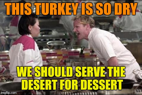 Terrible Thanksgiving Meme #501 |  THIS TURKEY IS SO DRY; WE SHOULD SERVE THE DESERT FOR DESSERT | image tagged in memes,angry chef gordon ramsay,dry,bird,dessert,thanksgiving | made w/ Imgflip meme maker