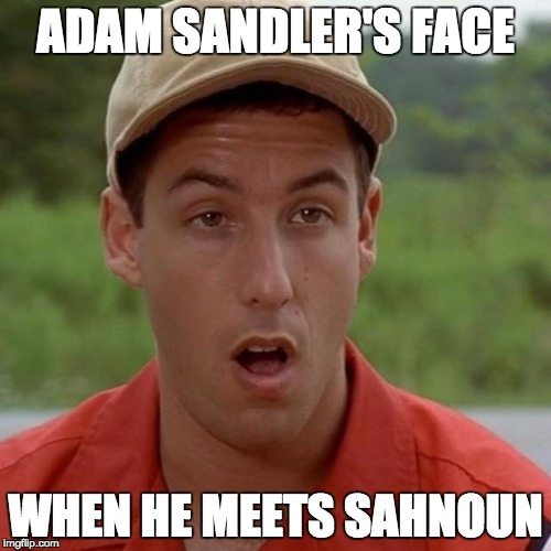 Adam Sandler mouth dropped |  ADAM SANDLER'S FACE; WHEN HE MEETS SAHNOUN | image tagged in adam sandler mouth dropped | made w/ Imgflip meme maker