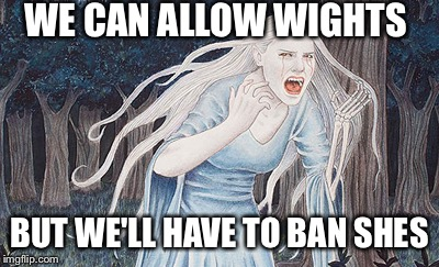 WE CAN ALLOW WIGHTS BUT WE'LL HAVE TO BAN SHES | made w/ Imgflip meme maker