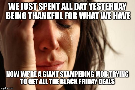 Black Friday First World | WE JUST SPENT ALL DAY YESTERDAY BEING THANKFUL FOR WHAT WE HAVE NOW WE'RE A GIANT STAMPEDING MOB TRYING TO GET ALL THE BLACK FRIDAY DEALS | image tagged in memes,first world problems | made w/ Imgflip meme maker