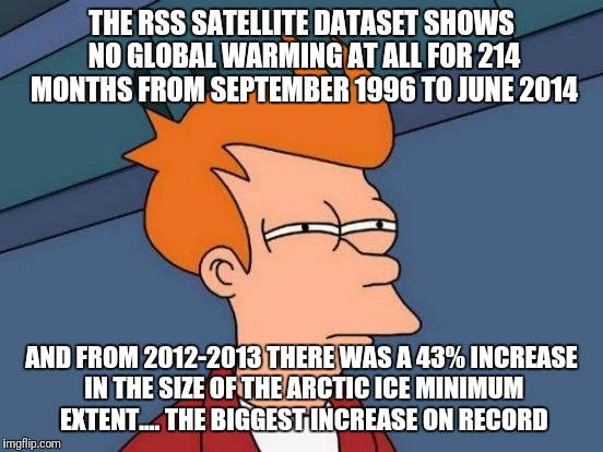 Shall we discuss hurricane frequency also? |  THE RSS SATELLITE DATASET SHOWS NO GLOBAL WARMING AT ALL FOR 214 MONTHS FROM SEPTEMBER 1996 TO JUNE 2014; AND FROM 2012-2013 THERE WAS A 43% INCREASE IN THE SIZE OF THE ARCTIC ICE MINIMUM EXTENT.... THE BIGGEST INCREASE ON RECORD | image tagged in memes,futurama fry,climate change,global warming,arctic,hurricane | made w/ Imgflip meme maker