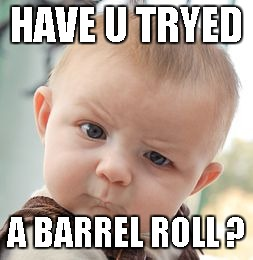 Skeptical Baby Meme | HAVE U TRYED A BARREL ROLL ? | image tagged in memes,skeptical baby | made w/ Imgflip meme maker