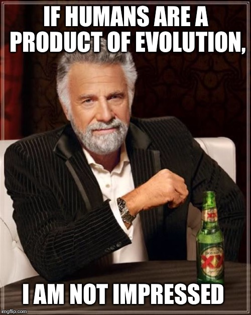 The Most Interesting Man In The World Meme | IF HUMANS ARE A PRODUCT OF EVOLUTION, I AM NOT IMPRESSED | image tagged in memes,the most interesting man in the world | made w/ Imgflip meme maker