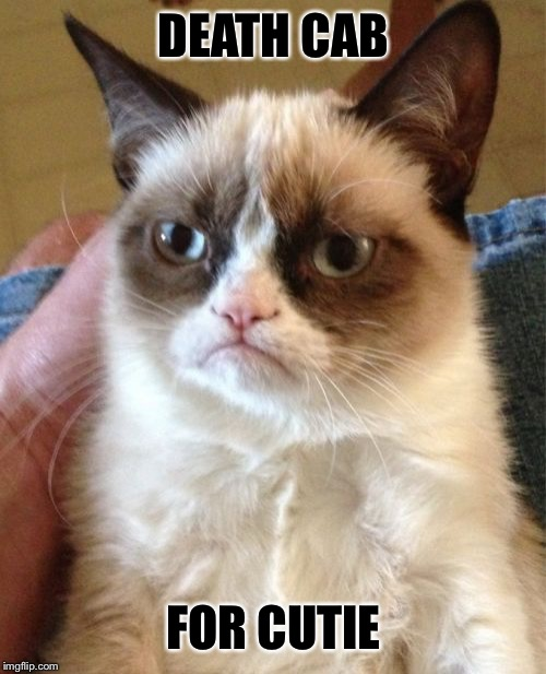 Grumpy Cat Meme | DEATH CAB FOR CUTIE | image tagged in memes,grumpy cat | made w/ Imgflip meme maker