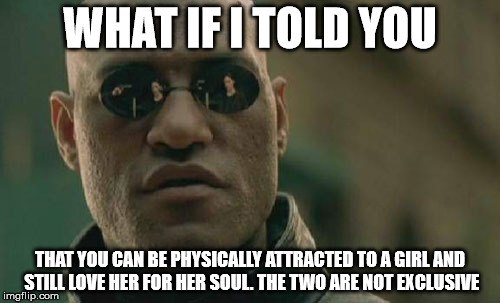 Matrix Morpheus Meme | WHAT IF I TOLD YOU THAT YOU CAN BE PHYSICALLY ATTRACTED TO A GIRL AND STILL LOVE HER FOR HER SOUL. THE TWO ARE NOT EXCLUSIVE | image tagged in memes,matrix morpheus | made w/ Imgflip meme maker