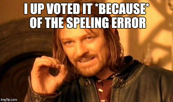 One Does Not Simply Meme | I UP VOTED IT *BECAUSE* OF THE SPELING ERROR | image tagged in memes,one does not simply | made w/ Imgflip meme maker