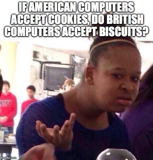 Black Girl Wat Meme | IF AMERICAN COMPUTERS ACCEPT COOKIES, DO BRITISH COMPUTERS ACCEPT BISCUITS? | image tagged in memes,black girl wat,computers,cookies | made w/ Imgflip meme maker