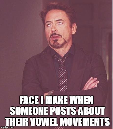 Face You Make Robert Downey Jr Meme | FACE I MAKE WHEN SOMEONE POSTS ABOUT THEIR VOWEL MOVEMENTS | image tagged in memes,face you make robert downey jr | made w/ Imgflip meme maker
