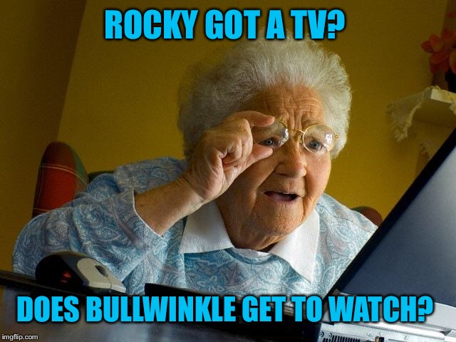 Grandma Finds The Internet Meme | ROCKY GOT A TV? DOES BULLWINKLE GET TO WATCH? | image tagged in memes,grandma finds the internet | made w/ Imgflip meme maker